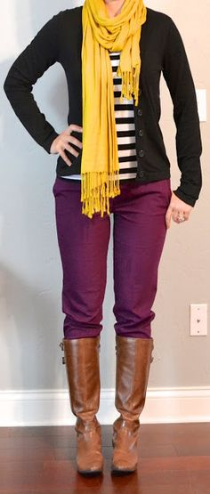 outfit post: striped top, burgundy/purple cropped pants, boots, black cardigan | Outfit Posts Dynamic