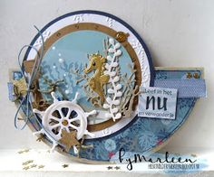 Handmade card by DT member Marleen with Collectables Eline's Tropical Fish Craftables Basic Round Coral & Creatables Porthole from Marianne Design Beach Scrapbook Layouts, Scrapbook Cards, Masculine Birthday Cards, Masculine Cards, Fancy Fold Cards, Folded Cards, Tarjetas Pop Up, Marianne Design Cards, Nautical Cards