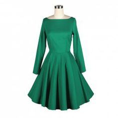 $43.60 Vintage Boat Neck Flounce Hem Long Sleeves Green Dress For Women