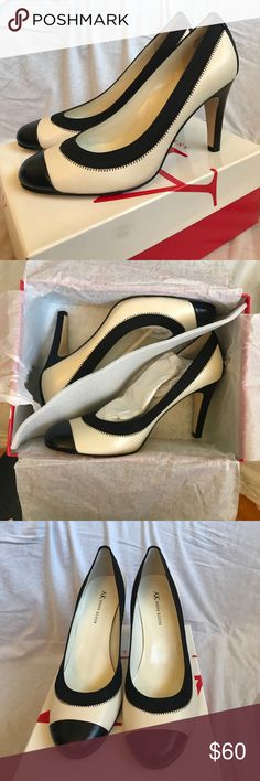 Anne Klein Cream and Black Pump These pumps are brand new. They have never been worn. The heels is 3.5 inches. Anne Klein Shoes Heels