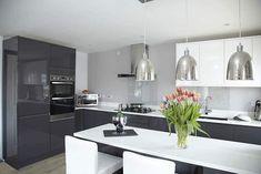 Contemporary kitchen dark gray high gloss cabinets white quartz cabinets silver pendant lights High Gloss Kitchen Cabinets, Modern Kitchen Design, Kitchen Designs, Grey And White, Gray, Painting Cabinets, Cabinet Design, Pendant Lighting, White Quartz