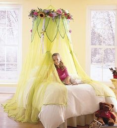 for a fairy bedroom - I love the canopy, but maybe in a different colour?