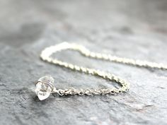 Herkimer Diamond Necklace Delicate  Layering by AeridesDesigns
