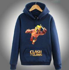 COC Clash of Clans fleece hoodie for teens plus size Barbarian hooded sweatshirts