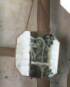 MirrorDeco — Hanging Mirror on Chain - Octagon Shaped Copper Frame