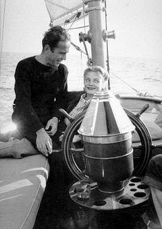 "Humphrey Bogart and Lauren Bacall on their yacht, ""Santana,"" 1946. #sailing"