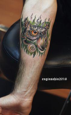 new school tattoo - owl tattoo - baykuş dövmesi - engin şahin