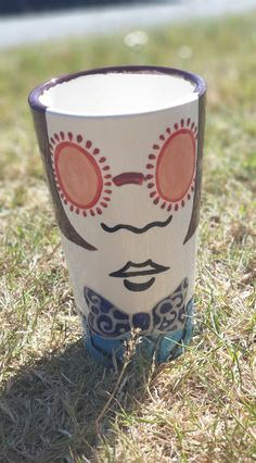 Hand painted pottery beaker by a customer