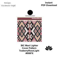 peyote pattern,lighter pattern pdf, #007FX, BIC lighter cover pattern, maxi lighter cover,instant pdf download,digital file,bellepatterns von bellepatterns auf Etsy