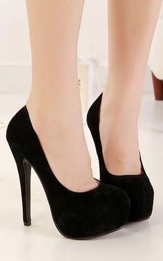 Classy Pure Black Round Toe High Heels Fashion Shoes