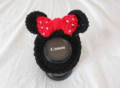 Crochet Minnie Mouse Lens Friend by TheYarnFool on Etsy, $6.00