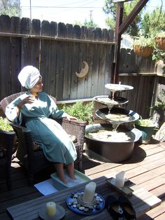 Enjoying some time in the Mediation Garden at International Day Spa, Redlands, California