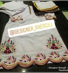 Embroidery Suits Punjabi, Kurti Embroidery Design, Cutwork Embroidery, Hand Work Embroidery, Embroidery Fashion, Hand Embroidery Designs, Embroidery Dress, Embroidery Kits, Punjabi Suit Boutique