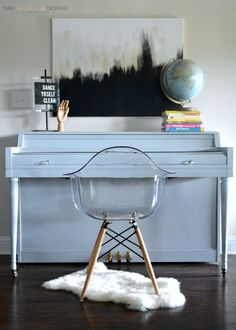 Gray Americana Decor Chalky Finish Painted Piano by Two Thirty~Five Designs 1 #decoartprojects