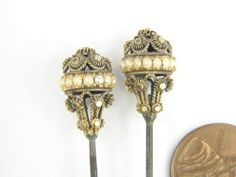 Unusual Pair Antique 15K Gold Cannetille Pearl Hat Pins c1830 No Reserve | eBay