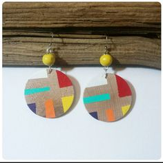 Check out this item in my Etsy shop https://www.etsy.com/listing/181492520/wood-dangle-earrings-multicolored-stripe