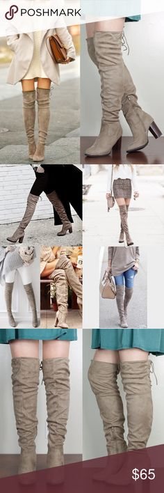 1 HR SALECARABELLE faux suede boot - NATURAL Lace up faux suede over the knee boot. Super comfy. Please see pic 3 & 4 for ACTUAL ITEM. NO TRADE, PRICE FIRM Bellanblue Shoes Over the Knee Boots