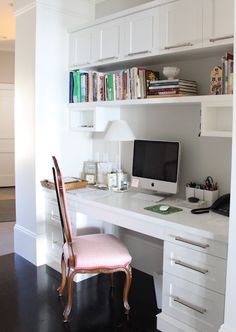 mom desk: Small office space tucked under stairs in entry hall.  Molly Frey Design.  This would fit perfect downstairs!