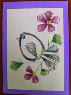 The Latest Trend in Embroidery – Embroidery on Paper - Embroidery Patterns Embroidery Cards, Embroidery Stitches, Embroidery Patterns, Paper Piecing Patterns, Card Patterns, Arte Linear, String Art Patterns, Sewing Cards, Thread Art