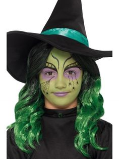 Girls green witch Halloween makeup kit, to buy online now at Heaven Costumes. Do your very own Halloween witch look using this wicked witch makeup kit for children, made by Smiffy's. Kids Witch Makeup, Halloween Makeup For Kids, Fröhliches Halloween, Kids Halloween Face Paint, Halloween Tutorial, Spirit Halloween, Vintage Halloween, Kids Witch Costume, Witches Costumes For Women