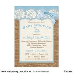 "FAUX Burlap Ivory Lace, Blue Baby Shower Invite 2 4.5"" X 6.25"" Invitation Card"