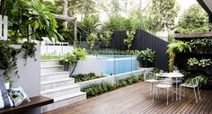 41 pool landscaping ideas tropical small backyards - Savvy Ways About Things Can Teach Us Small Space Gardening, Small Garden Design, Small Gardens, Yard Design, Outdoor Patio Designs, Outdoor Decor, Patio Ideas, Modern Patio, Backyard Ideas