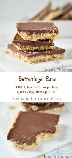 Butterfinger Bars...THM:S, low carb, sugar free, gluten/egg free options