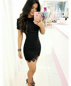 Short black dress and sandals Classy Outfits, Sexy Outfits, Sexy Dresses, Dress Outfits, Cool Outfits, Short Sleeve Dresses, Casual Outfits, Dress Skirt, Bodycon Dress