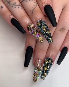 popular gel glitter coffin nail designs 25 ~ my. Sparkle Nail Designs, Nails Design With Rhinestones, Black Nail Designs, Sparkle Nails, Bling Nails, Perfect Nails, Gorgeous Nails, Pretty Nails, Stiletto Nail Art