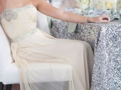 love the look of this dress, and the sequin table cloth idea!