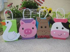Farm Animal Birthday Party Favor Bag by christinescritters on Etsy, $3.00