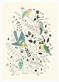 Buy Bird Illustration, Spring-themed art, Bird Poster by Studio Meez Art And Illustration, Illustrations Posters, Pretty Birds, Beautiful Birds, 16 Tattoo, Bird Poster, Spring Birds, Buy Birds, Inspiration Art