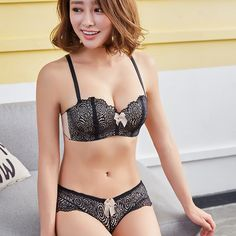 a5b3f34190 Lanshifei Seamless Cup Demi Brassiere Wire Free Bra And Panty Set Push Up  Lace Thin Half