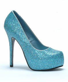 This Blue Shimmer Mamie Pump by Bettie Page is perfect! #zulilyfinds