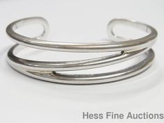 Genuine Sterling Silver Tiffany Co 925 Zig Zag Cuff Wide Bracelet #TiffanyCo #Cuff