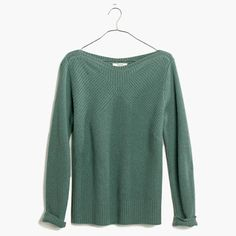With its wide bateau neckline, directional ribbing and superplush merino wool, this is the cozy-meets-cool pullover you've been looking for. We love it with skinny jeans or a leather skirt.<ul><li>True to size.</li><li>Merino wool.</li><li>Dry clean.</li><li>Import.</li></ul>