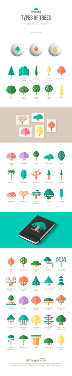Free Icons Set : Types Of Trees Around The World (50 Icons)