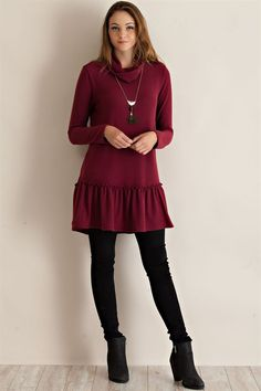 Turtleneck Tunic - Wine - Knitted Belle Boutique  - 1