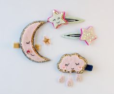 Handmade Moon Glitter Felt Hair Clip by TIKAhairaccessories