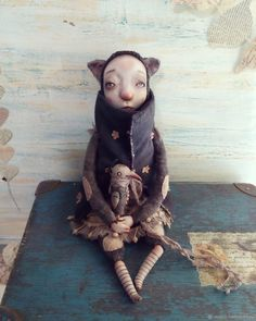 Купить Кошка и птичка - темно-серый, бежевый, теддидолл, кошка, авторская кукла, коллекционная кукла