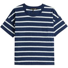 Rag & Bone Suzanne Striped Cotton T-Shirt featuring polyvore, fashion, clothing, tops, t-shirts, stripes, slim t shirts, nautical t shirts, blue cotton t shirts, cotton tee and cotton t shirts