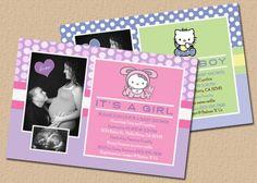 Hello Kitty Baby | Hello Kitty And Rabbit Baby Girl Shower Invitations  Bs072 | Baby Shower | Pinterest | Rabbit Baby And Baby Girl Shower