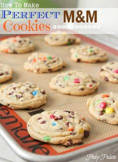 "How to Make Perfect M + M cookies (Picky Palate). ""Soft but crispy around the edges with just the right texture."" There's a secret ingredient in the recipe that makes the cookies so good..."
