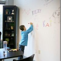 Kids Craft Room Idea: Dry Erase Paint and Wall Paper!