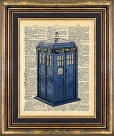 Dr Who Tardis Police Call Box Dictionary page art Book Page art Print. $9.00, via Etsy.