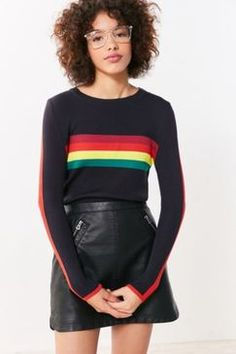 Urban Outfitters Cooperative Rainbow Striped Pullover Sweater Found on my new favorite app Dote Shopping #DoteApp #Shopping