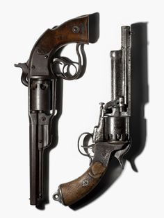 Savage revolver, one of 20,000 manufactured during the Civil War with the vast majority used by Union soldiers and a LeMat revolver, developed by Dr. Jean Alexandre LeMat of New Orleans, LA. and used by the Confederates