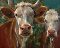 Mucca giclee pittura - amici - stampa di un dipinto originale su carta allungata tela o d'arte