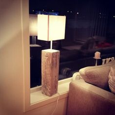 Found a old wooden beam in a old house and made a lamp with it.    Made by; Trond Olsen