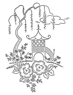 Oriental design - would be fabulous in blue work >> and Japan coloring page for World Friends Unit